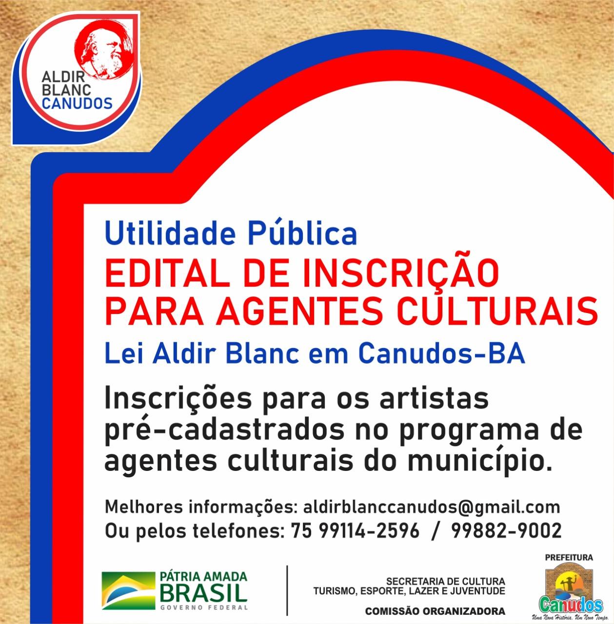 Prefeitura de Canudos lança edital para repassar recursos da Lei Aldir Blanc a trabalhadores da cultura