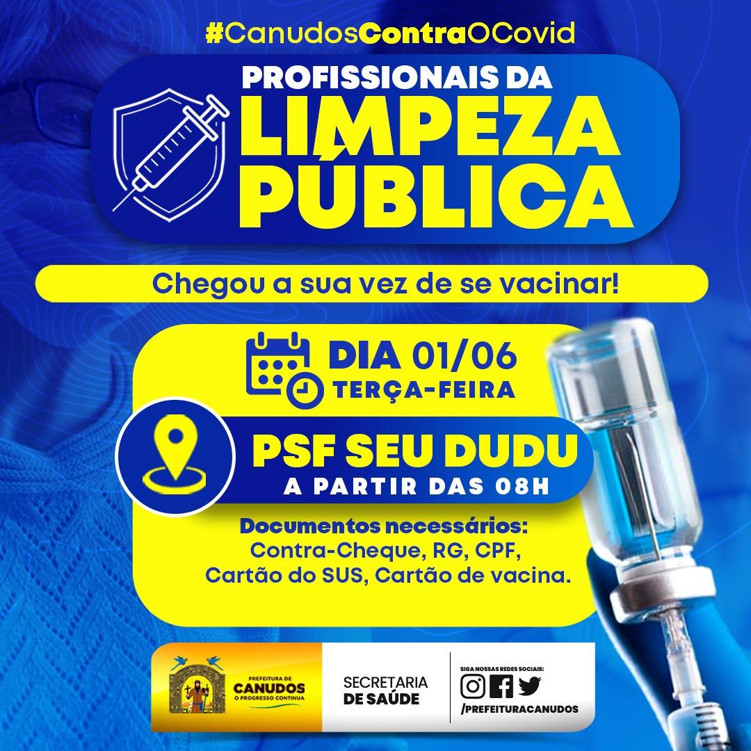 Vacinação dos profissionais da limpeza pública 🙌🙏