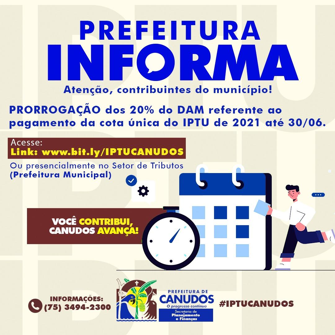 ⚠️Atenção, contribuintes do município – PRORROGAÇÃO DO DESCONTO DE 20% do DAM